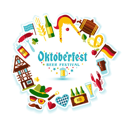 banger: Flat design vector illustration with oktoberfest celebration symbols. Oktoberfest celebration design with Bavarian hat and autumn leaves and germany symbols. Illustration