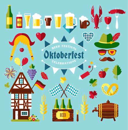 banger: Flat design vector set icons with oktoberfest celebration symbols. Oktoberfest celebration design with Bavarian hat and autumn leaves and germany symbols on blue background. Illustration