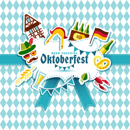 Flat design vector illustration with oktoberfest celebration symbols. Oktoberfest celebration design with Bavarian hat and autumn and germany symbols.Autumn banner on blue background. Illustration