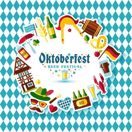 banger: Flat design vector illustration with oktoberfest celebration symbols. Oktoberfest celebration design with Bavarian hat and autumn and germany symbols.Autumn banner on blue background. Illustration
