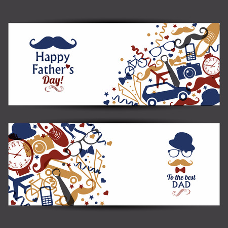 Happy fathers day banners set. Vector illustration.Flat design with transparency. Vetores