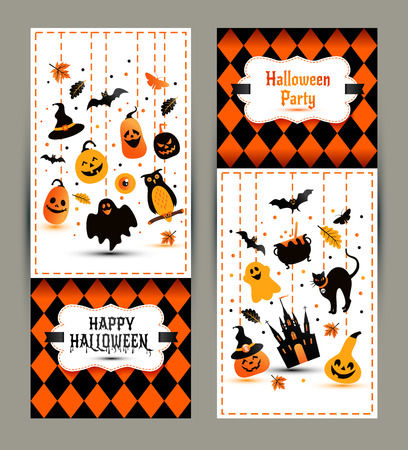 ghost town: Halloween banners set on colors background. Invitation to night party. Vector design template for halloween celebration with icons. Set of autumn symbols.