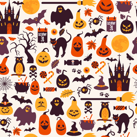 ghost town: Seamless pattern of halloween for autumn celebration with icons in flat style. Vector design illustration of halloween.