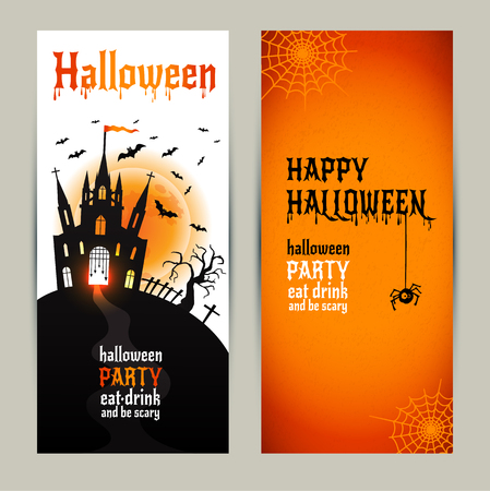 show plant: Halloween vertical banners set on orange and white background. Invitation to night party. Vector design template for halloween celebration. Set of autumn symbols. Illustration