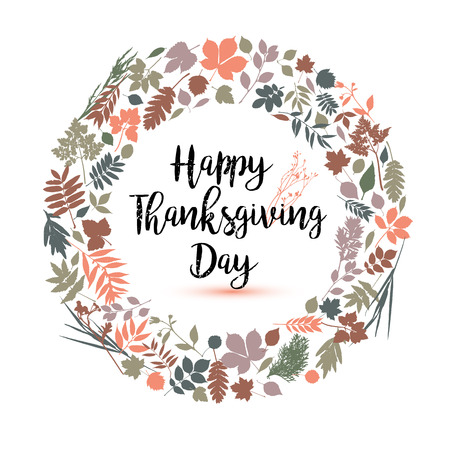fall leaves on white: Happy Thanksgiving day in calligraphic hand drawn style. Fall style for autumn.Happy Thanksgiving Day greeting card design with colors leaves on white background. Stylish autumn set of elements.