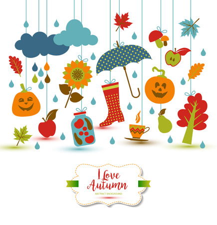 fall about: Autumn illustration with flat icons. Bright vector background about fall. Illustration