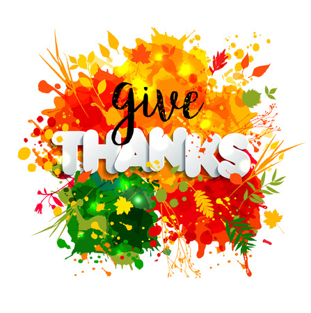 fall leaves on white: Happy Thanksgiving day in calligraphic hand drawn style and paper style. Fall style for autumn.Happy Thanksgiving Day greeting card design with colors leaves on white background with grunge blots.