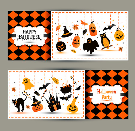 oktober: Halloween banners set on colors background. Invitation to night party. Vector design template for halloween celebration with icons. Set of autumn symbols.