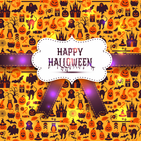 ghost town: Seamless pattern of halloween for autumn celebration with icons in flat style. Illustration