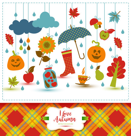 Autumn illustration with flat icons. Bright vector background about fall. Illustration