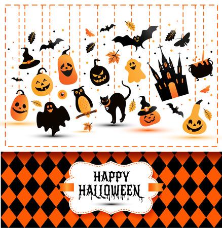 Halloween Banner Auf Farben Hintergrund. Einladung Zur Nacht Party ...