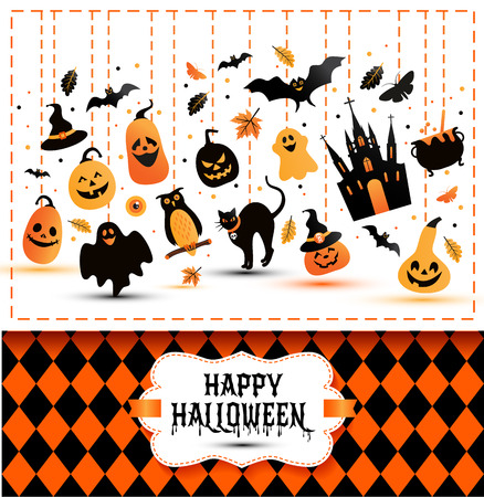 Halloween banner on colors and white background. Invitation to night party. Vector design template for halloween celebration with icons. Set of autumn symbols.