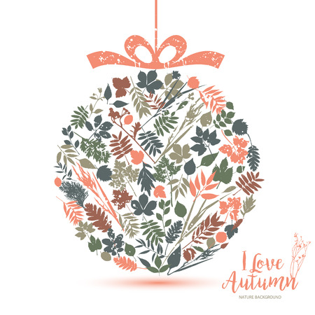 hi back: Text I love Autumn in calligraphic hand drawn style. Fall and nature illustration of leaves.