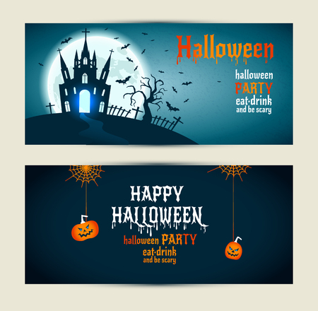 show plant: Halloween banners set on blue and darkblue background. Invitation to night party. Vector design template for halloween celebration. Set of autumn symbols.