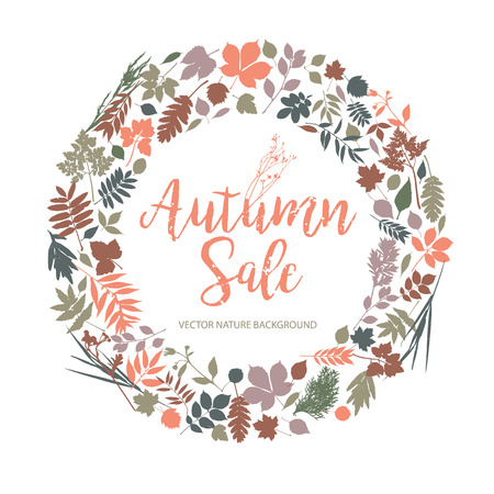 Text Autumn Sale in calligraphic hand drawn style. Fall style for autumn sale.