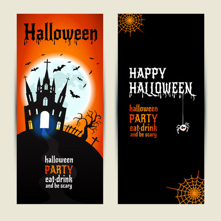 show plant: Halloween vertical banners set on orange and black background. Invitation to night party. Vector design template for halloween celebration. Set of autumn symbols. Illustration