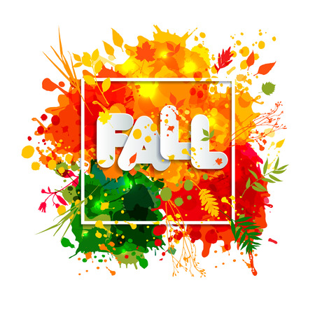 hi back: Text Fall in frame in paper style on multicolor blots background. Hand drawn grunge blots elrments.Fall style for autumn celebration. Illustration
