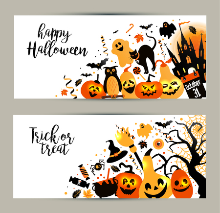 Halloween banners set on white background. Invitation to night party. Vector design template for halloween celebration with icons. Set of autumn symbols. Illustration