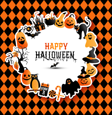 Halloween banner on colors background. Invitation to night party. Vector design template for halloween celebration with icons. Set of autumn symbols.