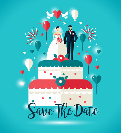 Wedding invitation card. Two on wedding cake with balloons.Vector design illustration.