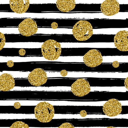Gold circles on black handdrawn line. Trendy seamless pattern use in the celebrate design. Vector illustration.