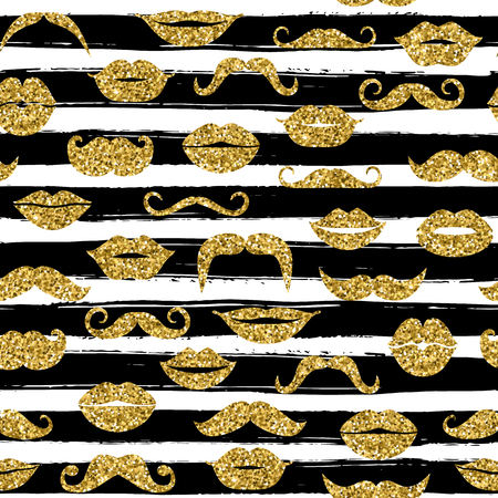 seamless bacground: Gold moustache seamless pattern on white bacground with black hand drawn line.