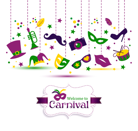 Bright vector carnival with icon in flat style and sign Welcome to Carnival. Vector design illustration of celebration.