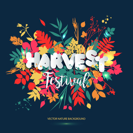 Harvest festival in paper style. Fall style for autumn.Harvest  Day greeting card design with colors leaves with grunge blots.