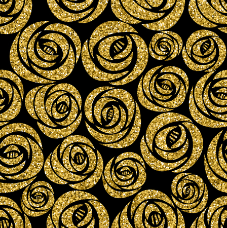glamor: Golden roses seamless pattern. Vector design illustration. Luxury glamour texture with flowers.