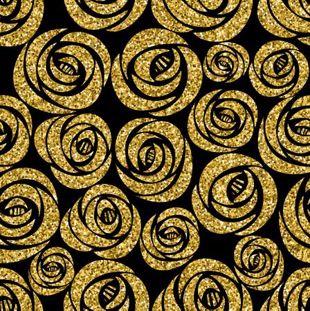 rosas de oro sin patrón. Vector ilustración de diseño. Textura glamour de lujo con flores.