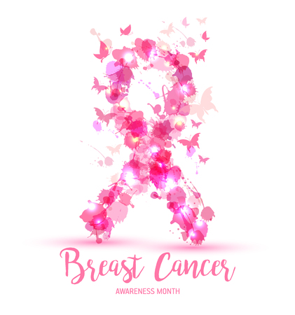 Breast cancer awareness concept illustration: pink ribbon symbol, pink watercolor blots . Vector hand drawn illustration. Vettoriali