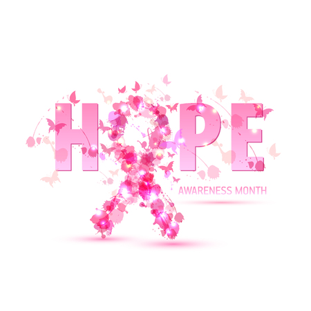 Breast cancer awareness concept illustration: pink ribbon symbol, pink watercolor blots with text hope. Vector hand drawn illustration.