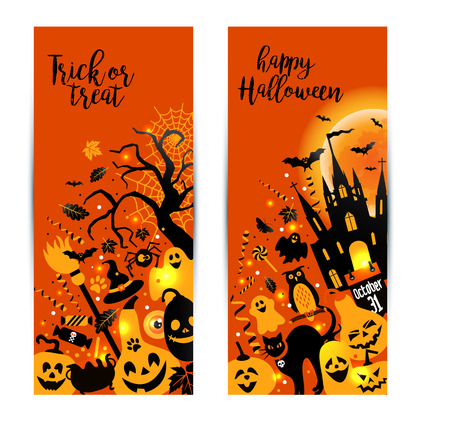 Halloween banners set on orange background. Invitation to night party. Vector design template for halloween celebration with icons. Set of autumn symbols. Illustration
