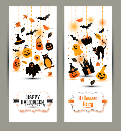 ghost town: Halloween banners set on white background. Invitation to night party. Vector design template for halloween celebration with icons. Set of autumn symbols. Illustration