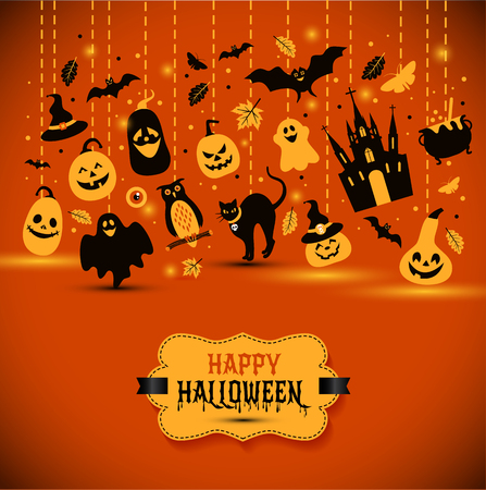 Halloween banner on orange background. Invitation to night party. Vector design template for halloween celebration with icons. Set of autumn symbols. Illustration