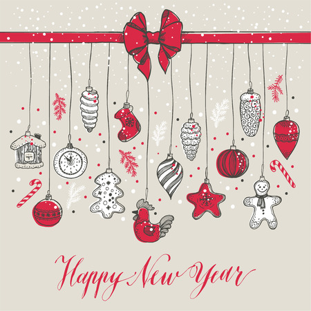 New Years toys hand drawn style. Greeting vector card for Christmas.