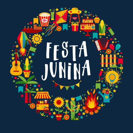 Festa Junina village festival in Latin America. Icons set in bright color. Flat style decoration. Wreath.