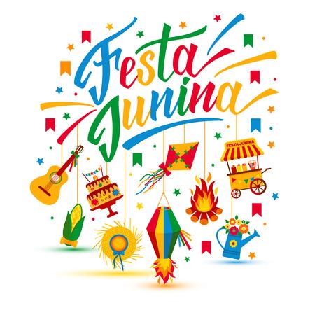 night dress: Festa Junina village festival in Latin America. Icons set in bright color. Flat style decoration.