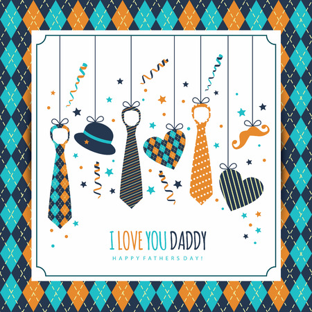 Happy fathers day illustration with symbol of dad.