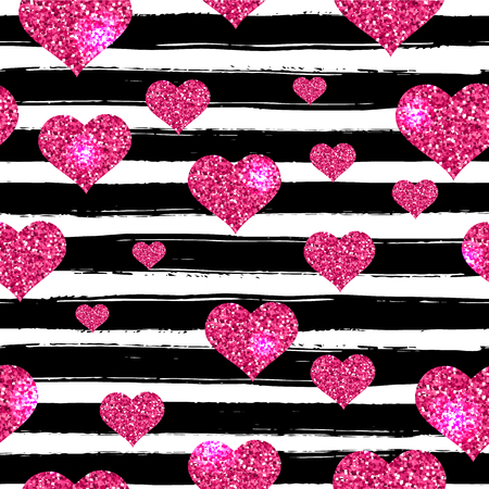 Valentines day with black hand drawn lines and hearts seamless pattern.