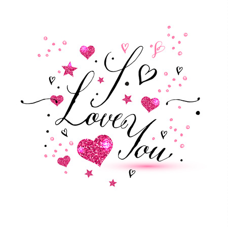 I love you text of Valentines day background.