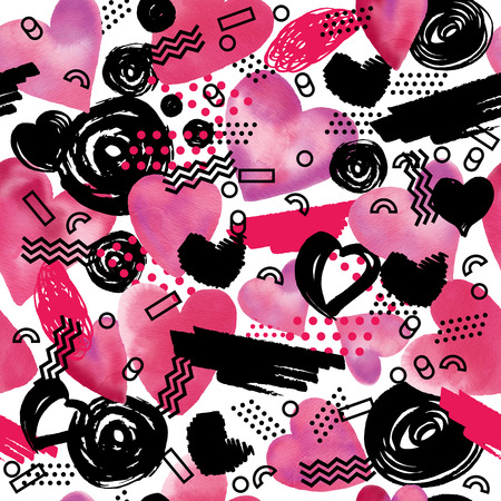 Seamless pattern with watercolor heart in Memphis design.