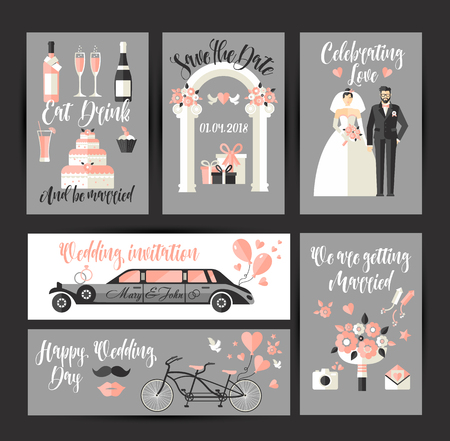 Set of cards for wedding. design decoration in flat for celebration Illusztráció