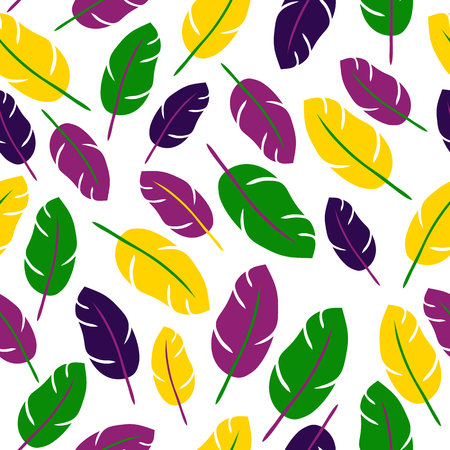 Mardi gras seamless pattern with feathers on white