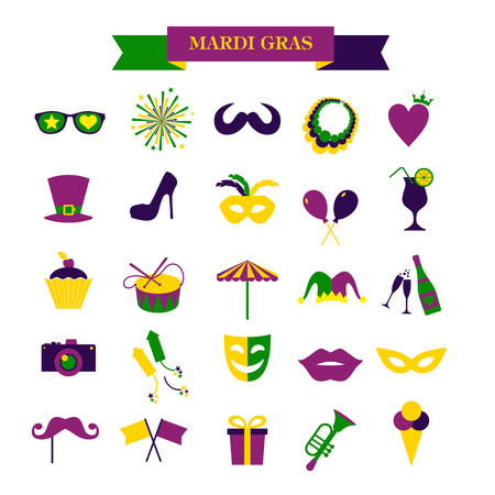 Mardi gras set of icons isolated on white Illustration