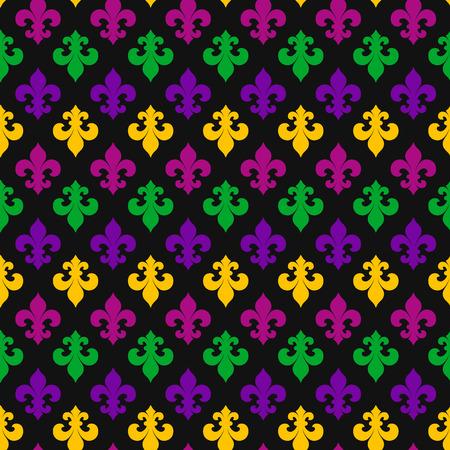 Mardi Gras decoration. seamless pattern on black.