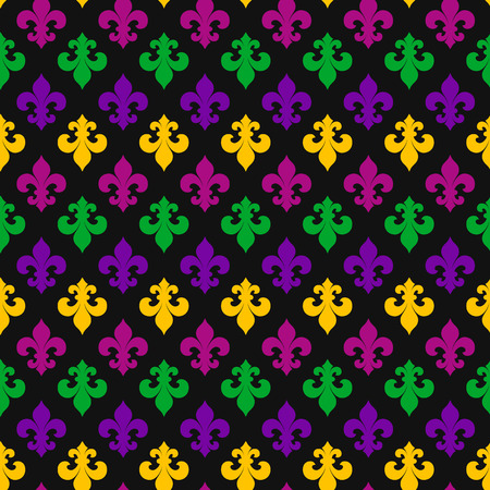 Mardi Gras decoration. seamless pattern on black.