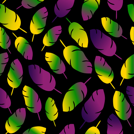 Mardi gras seamless pattern with colors feathers Illustration