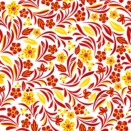 Russian ethnic on seamless plants pattern Illustration