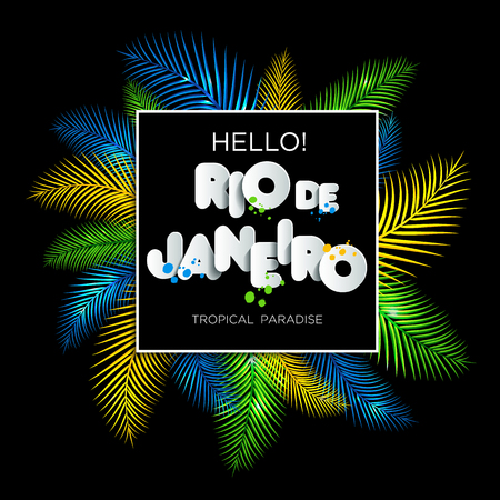 Illustration of Rio de Janeiro from Brazil vacation on color background, colors of the Brazilian flag, Brazil Carnival. Summer. Text of paper style. Illustration